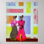 Gibson Girls in a Mondrian Pattern Poster