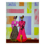 Gibson Girls in a Mondrian Pattern Posters