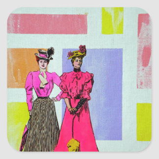 Gibson Girls in a Mondrian Pattern Square Sticker