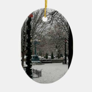 Giddings Plaza on Lincoln Square, Winter Wonder La Ceramic Ornament