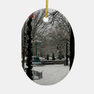 Giddings Plaza on Lincoln Square, Winter Wonder La Double-Sided Oval Ceramic Christmas Ornament