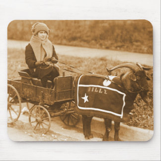 Giddy up, Billy! Vintage Goat Girl in Wagon Mouse Pad