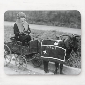Giddy up, Billy! Vintage Goat Girl Pulled in Buggy Mouse Pad