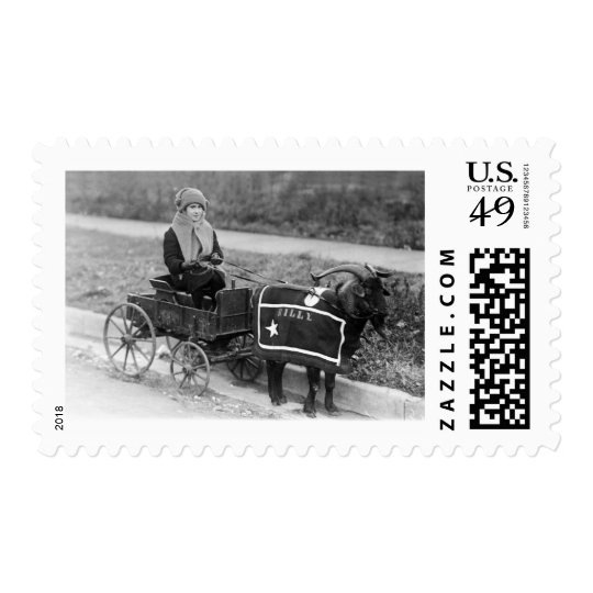 Giddy up, Billy! Vintage Goat Girl Pulled in Buggy Postage