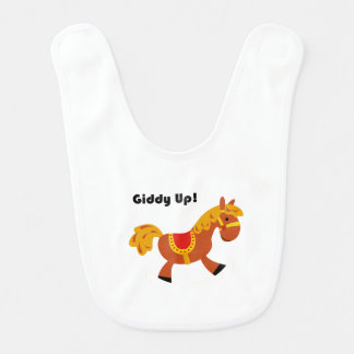 Giddy Up Children's Brown Saddle Horse Cartoon: Baby Bib
