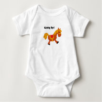 Giddy Up Children's Brown Saddle Horse Cartoon: Baby Bodysuit