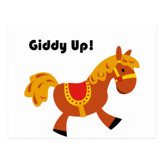 Giddy Up Children's Brown Saddle Horse Cartoon: Postcard