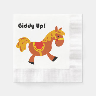Giddy Up Children's Brown Saddle Horse Cartoon Paper Napkin
