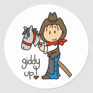 Giddy Up Cowboy Tshirts and Gifts Classic Round Sticker