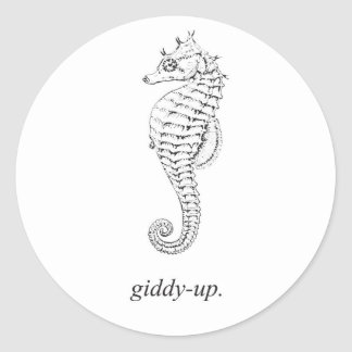 Giddy-Up Seahorse Classic Round Sticker