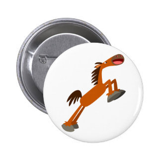 Giddyup, Horsey! Cartoon Horse Button Badge