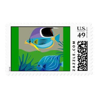 gif_0_Z-10 TROPICAL BLUE FISH cartoon vectors Stamp