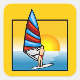 gif_3_sea.gif Colourful WindSurfer water sports Square Sticker