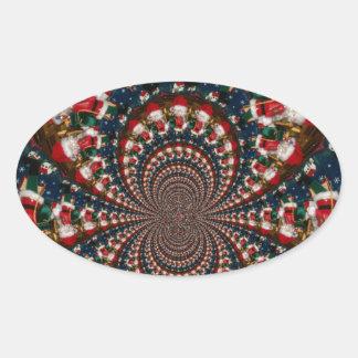 GIF retro colorido de Navidad de los regalos de Pegatina Ovalada