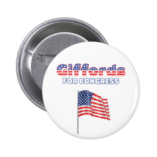 Giffords for Congress Patriotic American Flag Desi Pinback Button