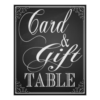 Gift and card Table wedding sign blackboard Poster