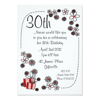 Gift and Flowers 30th Birthday Invitation