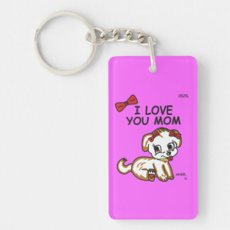 Gift Angel I Love You Mom Double Sided Keychain