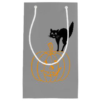 Gift Bag - Black Cat and Pumpkin Small Gift Bag