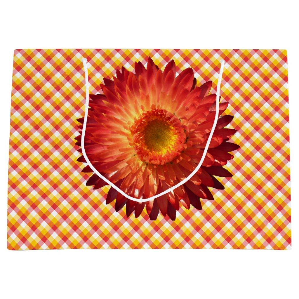Gift Bag chrysanthemum plaid
