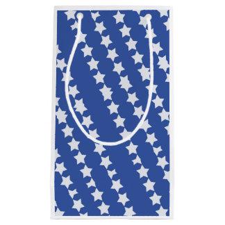 Gift bag, white stars on blue. small gift bag