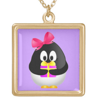 Gift Bearing Penguin Gold Plated Necklace