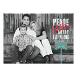 Gift Blue Ribbon Wrapped Holiday Photo Card