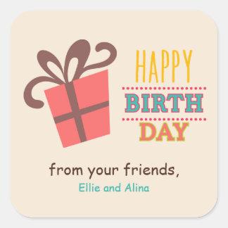 Gift box Birthday Party Square Sticker