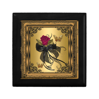 Gift Box Gold Red Rose Floral Vintage Butterfly