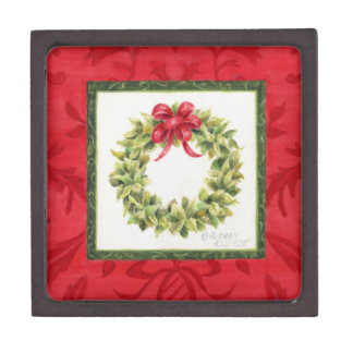 Gift Box Holiday Bay Leaf Wreath Red Damask