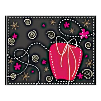 Gift Box PINK BLACK WHITE EMO GIRLY BACKGROUNDS WA Postcard