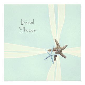 """Gift Box Starfish Square Shower Invitations 5.25"""" Square Invitation Card"""