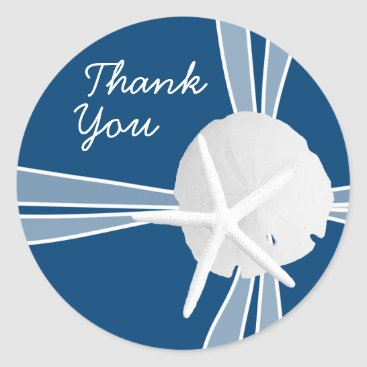 Beach Themed Gift Box Thank You Stickers, Navy Blue Classic Round Sticker