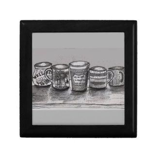 Gift Box with Coffee Cup Illustration
