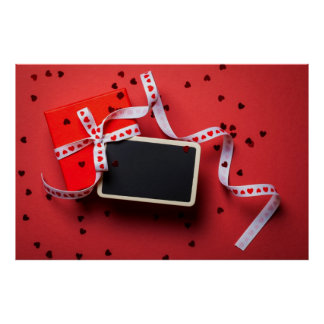 Gift Box With Framed Blackboard On Red Paper Poster