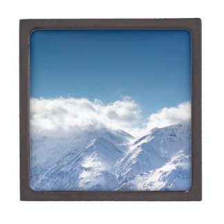 Gift box with photo of snowy mountaintop