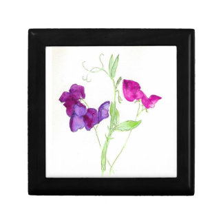 Gift Box with Watercolour Sweet Peas