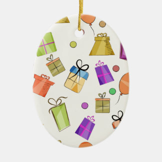 Gift boxes pattern for birthday ceramic ornament