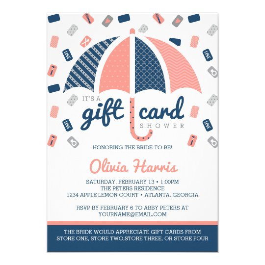 gift card bridal shower invitation navy coral