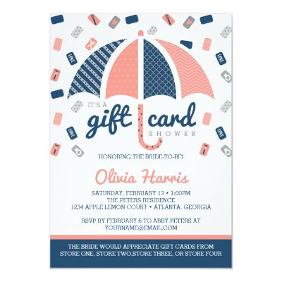 Navy Blue and Coral Nautical Wedding Invitation – Gift Card Wedding Shower