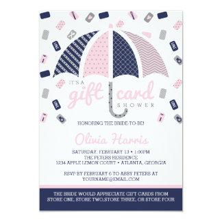 Gift Card Bridal Shower Invitation, Navy, Pink