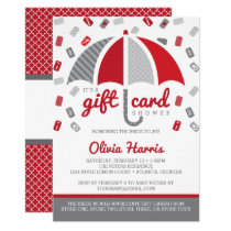 Gift Card Bridal Shower Invitation, Red, Gray