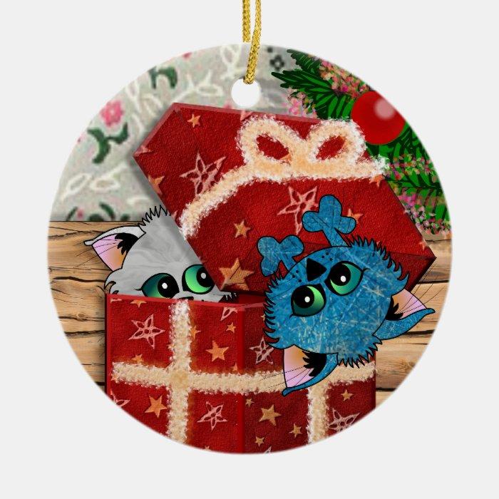 Gift Cats Ceramic Ornament