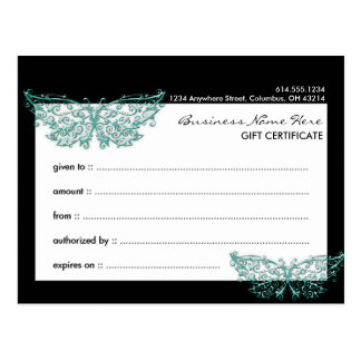 Gift Certificate 2 : Beautiful Turquoise Butterfly Post Cards