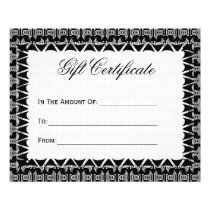 Gift Certificate Black White Tribal Pattern Flyer