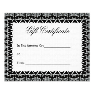 Gift Certificate Black White Tribal Pattern Flyer