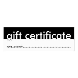 gift certificate (blank amount) mini business card