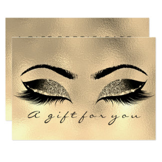 Gift Certificate Browns Gold Lashes Extensi Makeup Card
