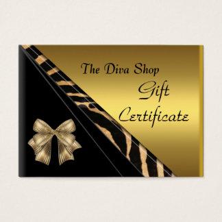 Gift Certificate Card Elegant Gold Black