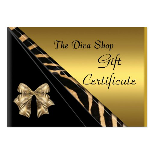 Gift Certificate Card Elegant Gold Black Business Card Template